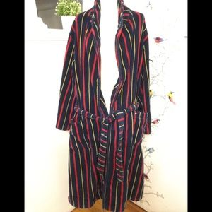 Vtg 90s Tommy Hilfiger Mens Thick Robe Red Blue